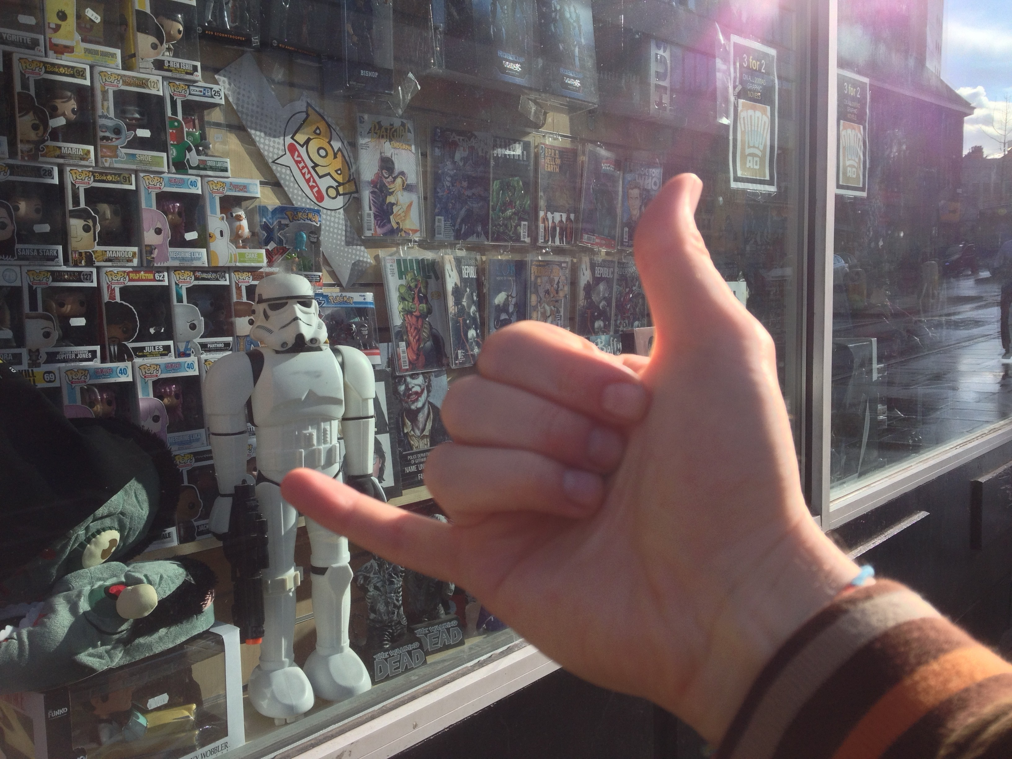 Picture of hanging loose outside Forbidden Planet for Indie Film Distribution: Treasure Trapped Nottingham blog